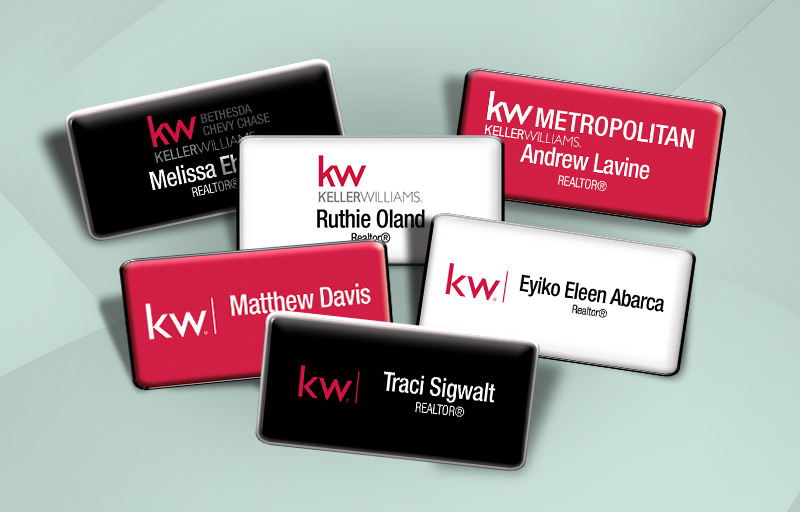 Keller Williams Real Estate Domed Rectangle Name Badge - KW Approved Vendor Name Tags for Realtors | BestPrintBuy.com