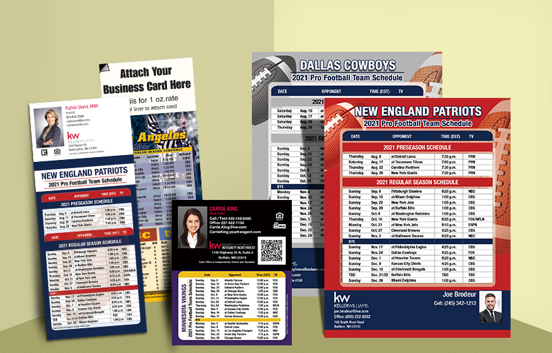 Keller Williams Real Estate Full Magnet NFL Schedules - KW approved vendor personalized magnetic football schedules | BestPrintBuy.com