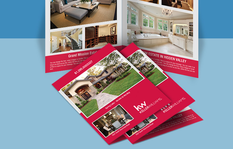 Keller Williams Real Estate Flyers and Brochures - KW approved vendor four-sided flyer templates for open houses and marketing | BestPrintBuy.com