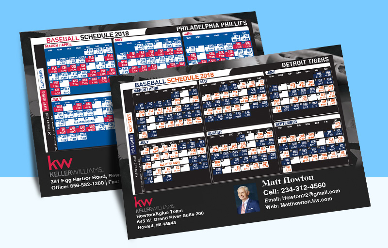 Keller Williams Real Estate Full Magnet Baseball Schedules - KW approved vendor sports schedules | BestPrintBuy.com