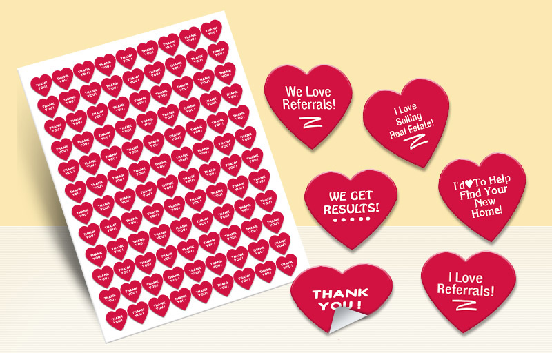 Keller Williams Real Estate Heart Shaped Stickers - KW approved vendor stickers with messages | BestPrintBuy.com