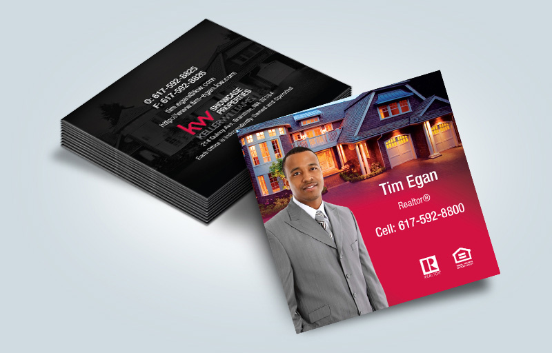 Keller Williams Real Estate Matching Two-Sided Square Business Cards - KW Approved Vendor - Modern, Unique Business Cards for Realtors | BestPrintBuy.com
