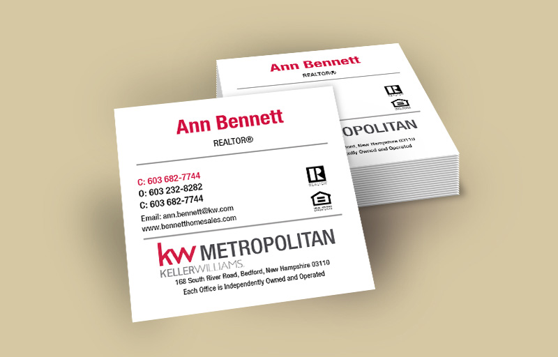 Keller Williams Real Estate Square Business Cards Without Photo - KW Approved Vendor - Modern, Unique Business Cards for Realtors | BestPrintBuy.com