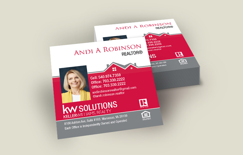 Keller Williams Real Estate Square Business Cards With Photo - KW Approved Vendor - Modern, Unique Business Cards for Realtors | BestPrintBuy.com