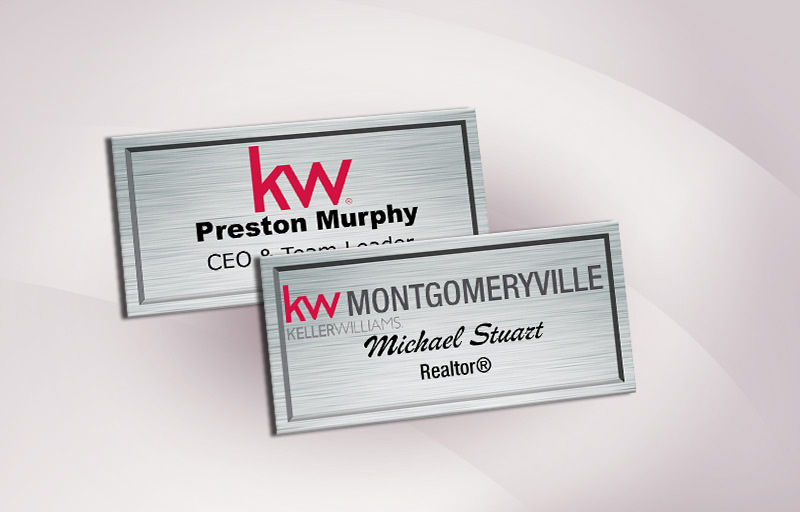 Keller Williams Real Estate Full Color Silver Metallic Name Badge - KW Approved Vendor Name Tags for Realtors | BestPrintBuy.com