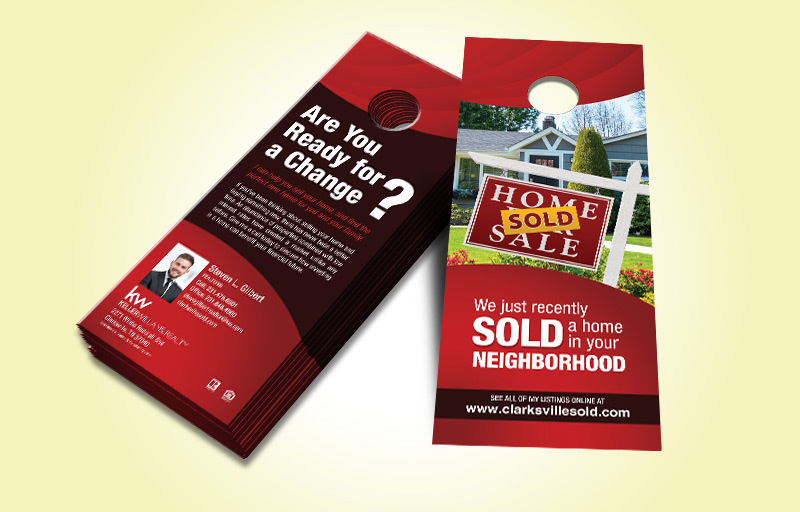 Keller Williams Real Estate Two Sided Door Hangers - KW Approved Vendor Gloss Door Knockers for Realtors | BestPrintBuy.com