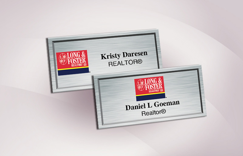 Long and Foster Real Estate Full Color Silver Metallic Name Badge - Long and Foster  Name Tags for Realtors | BestPrintBuy.com