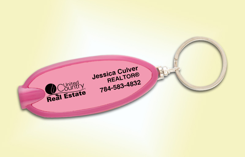 United Country Real Estate Oval Flashlight Key Tag - United Country Real Estate personalized realtor flashlight key chain promotional products | BestPrintBuy.com