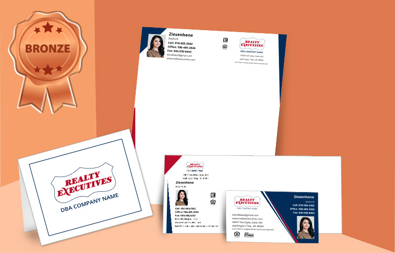 Realty Executives Real Estate Agent Bronze Package - Realty Executives personalized business cards, letterhead, envelopes and note cards | BestPrintBuy.com