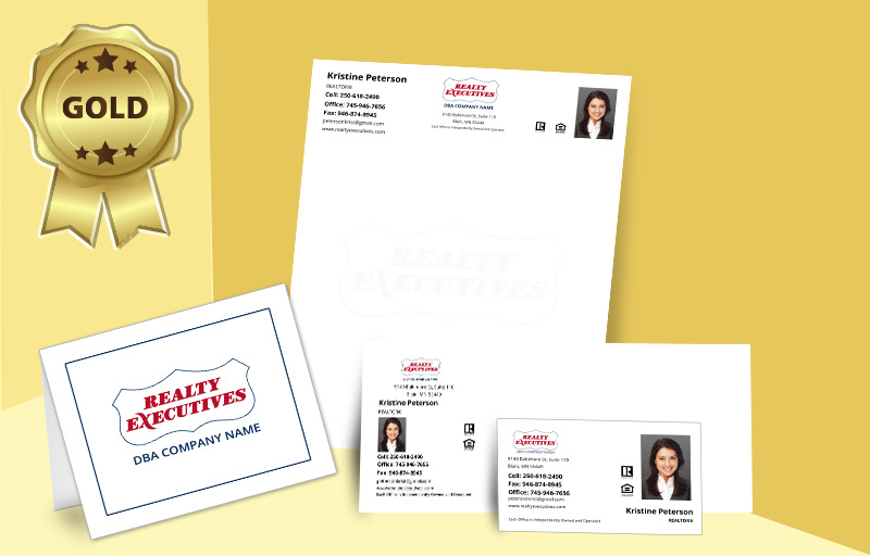 Realty Executives Real Estate Gold Agent Package - Realty Executives personalized business cards, letterhead, envelopes and note cards | BestPrintBuy.com