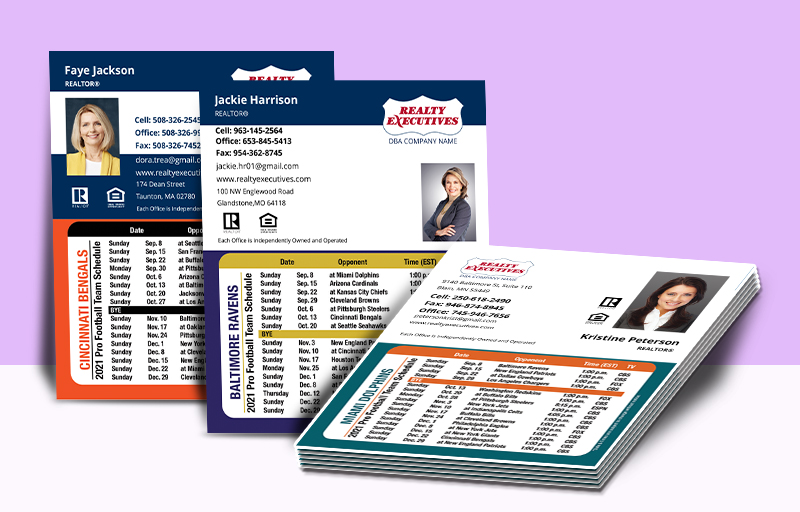 Realty Executives Real Estate Mini Business Card Magnet Football Schedules - Realty Executives personalized magnetic football schedules | BestPrintBuy.com