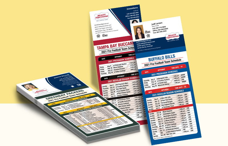 Realty Executives Real Estate Business Card Magnet Football Schedules - Realty Executives personalized magnetic football schedules | BestPrintBuy.com