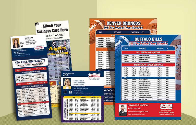 Realty Executives Real Estate Football Schedules - Realty Executives custom sports schedule magnets | BestPrintBuy.com