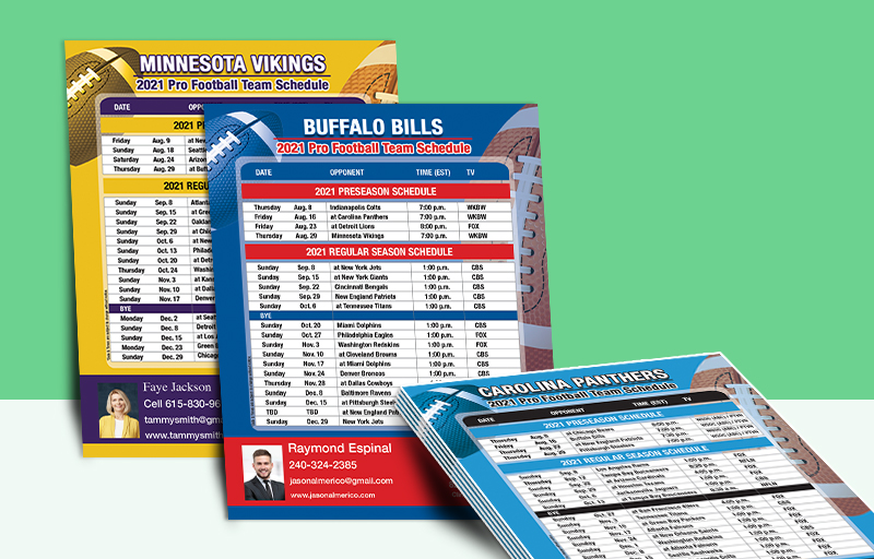 Realty Executives Real Estate Full Magnet NFL Schedules - Realty Executives personalized magnetic football schedules | BestPrintBuy.com