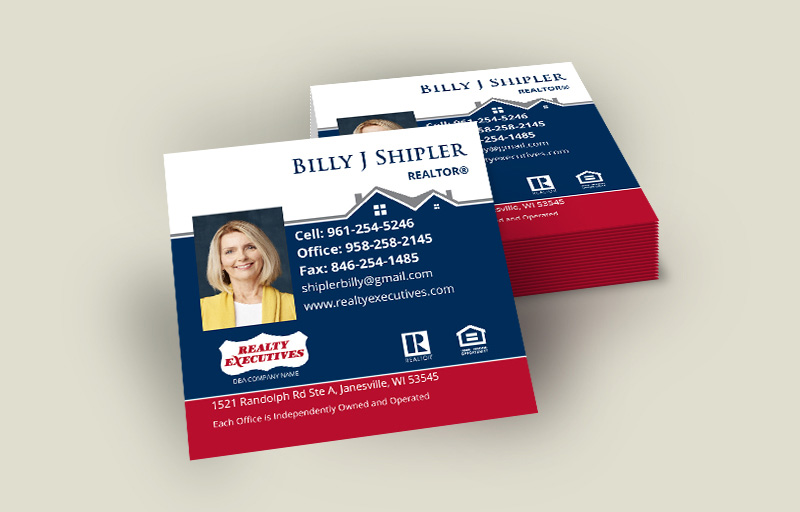 Realty Executives Real Estate Square Business Cards With Photo - Realty Executives - Modern, Unique Business Cards for Realtors | BestPrintBuy.com
