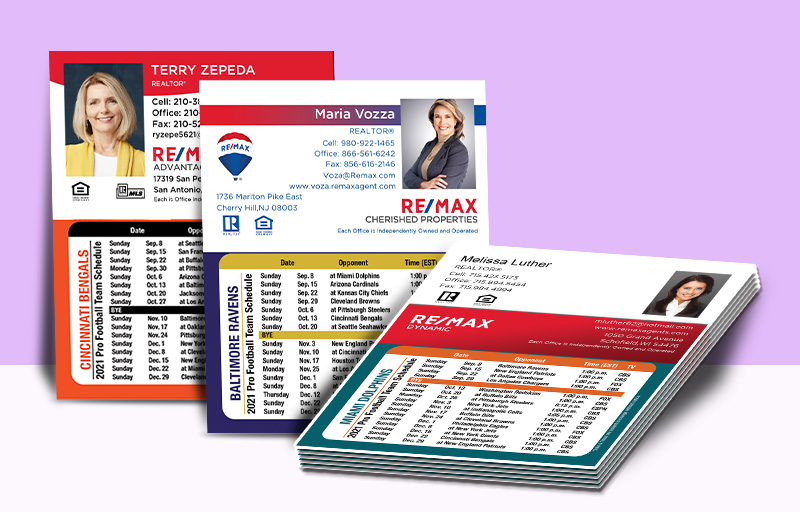 RE/MAX Real Estate Mini Business Card Magnet Football Schedules - RE/MAX personalized magnetic football schedules | BestPrintBuy.com