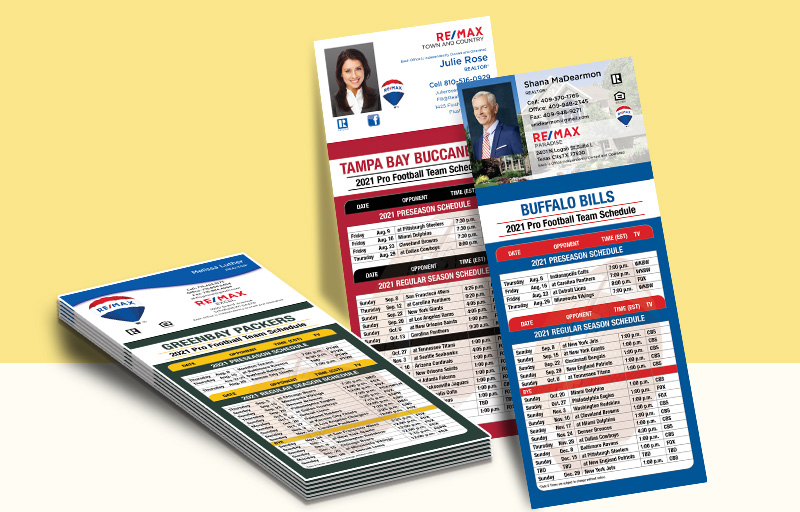 RE/MAX Real Estate Business Card Magnet Football Schedules - RE/MAX personalized magnetic football schedules | BestPrintBuy.com