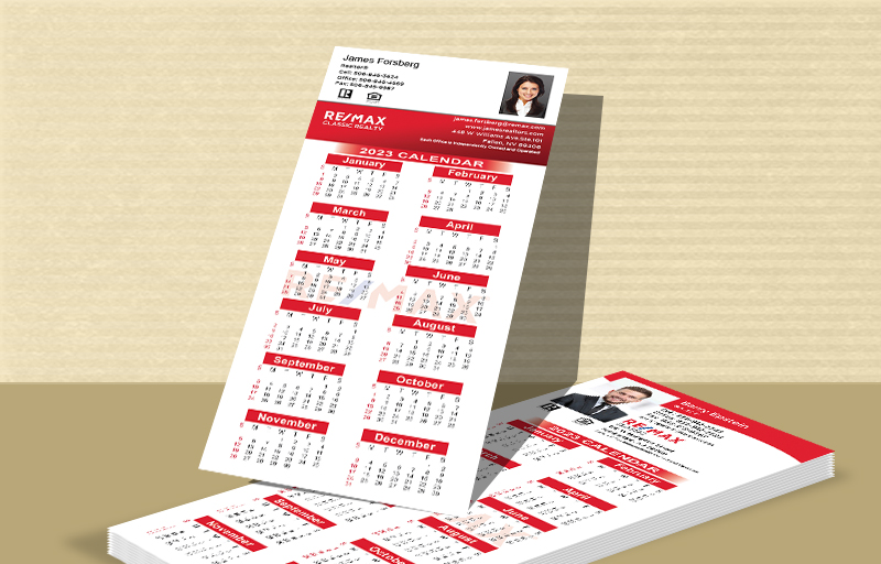 "RE/MAX Real Estate Business Card Calendar Magnets - RE/MAX  2019 calendars with photo and contact info, 3.5"" x 8.5"" 