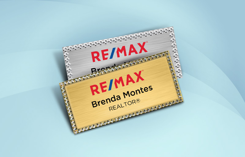 RE/MAX Real Estate Bling Rectangle Name Badge - RE/MAX Rhinestone Name Tags for Realtors | BestPrintBuy.com
