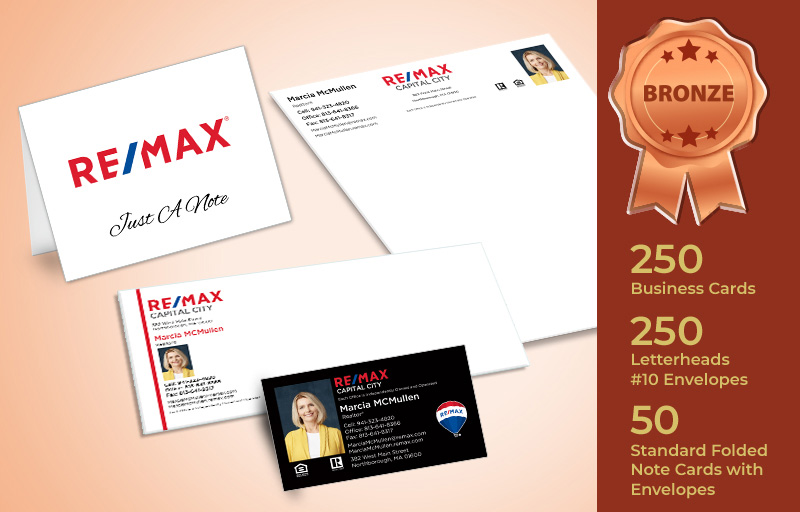 RE/MAX Real Estate Bronze Agent Package - RE/MAX personalized business cards, letterhead, envelopes and note cards | BestPrintBuy.com
