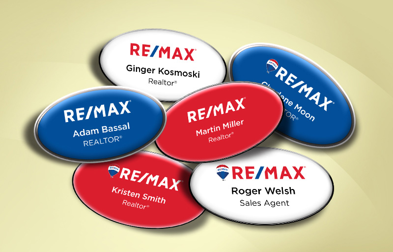 RE/MAX Real Estate Domed Oval Name Badge - RE/MAX Name Tags for Realtors | BestPrintBuy.com