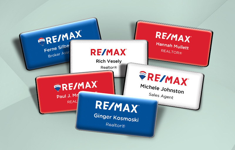 RE/MAX Real Estate Domed Rectangle Name Badge - RE/MAX Name Tags for Realtors | BestPrintBuy.com