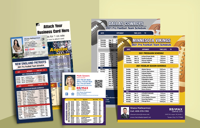 RE/MAX Real Estate Full Magnet NFL Schedules - RE/MAX  personalized magnetic football schedules | BestPrintBuy.com