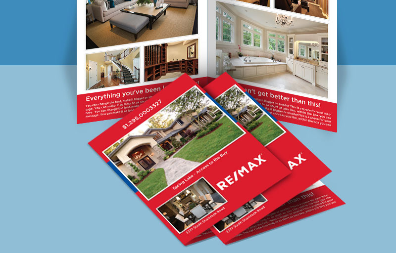 RE/MAX Real Estate Flyers and Brochures - RE/MAX four-sided flyer templates for open houses and marketing | BestPrintBuy.com