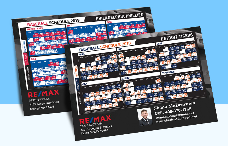 RE/MAX Real Estate Full Magnet Baseball Schedules - RE/MAX sports schedules | BestPrintBuy.com