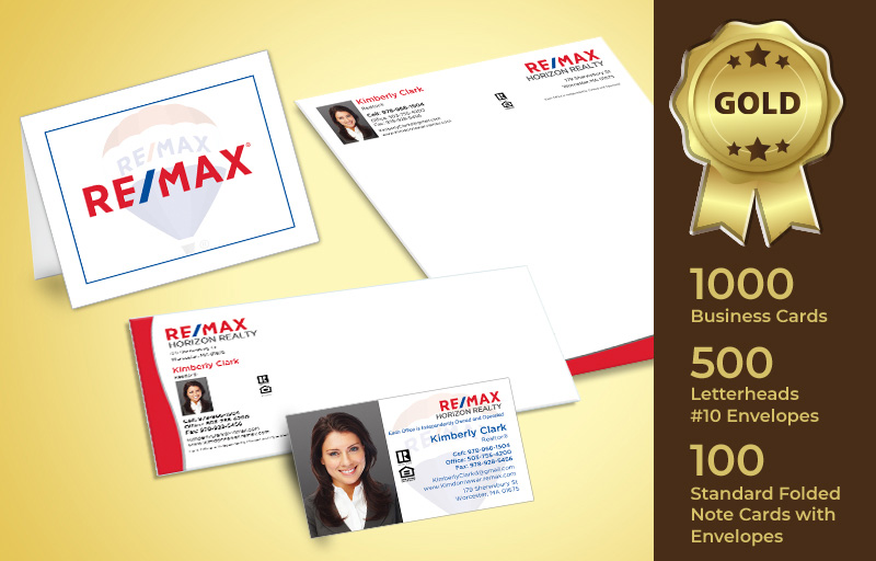RE/MAX Real Estate Gold Agent Package - RE/MAX personalized business cards, letterhead, envelopes and note cards | BestPrintBuy.com