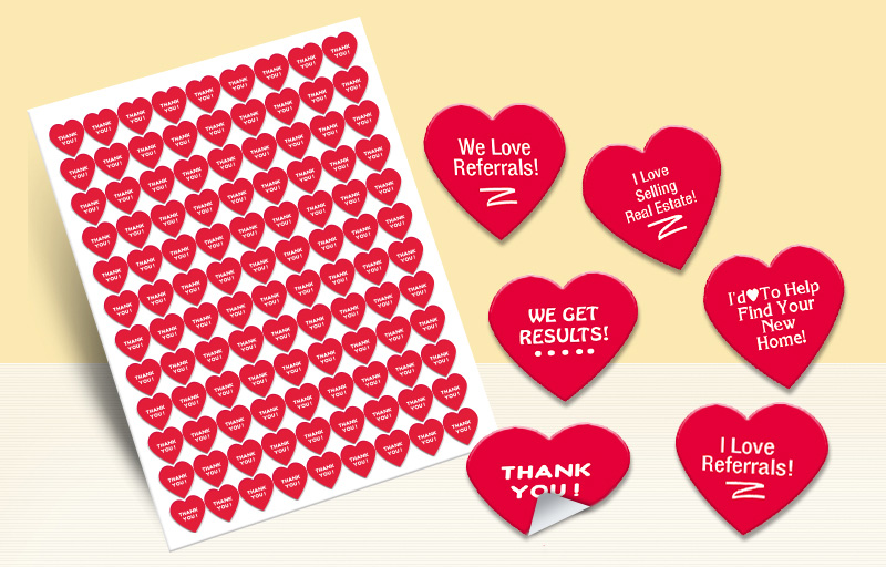 RE/MAX Real Estate Heart Shaped Stickers - RE/MAX stickers with messages | BestPrintBuy.com