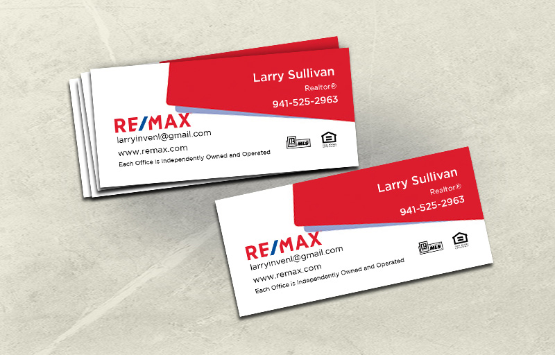 RE/MAX Real Estate Mini Business Cards Without Photo - RE/MAX - Slim, Half Size Business Cards for Realtors | BestPrintBuy.com