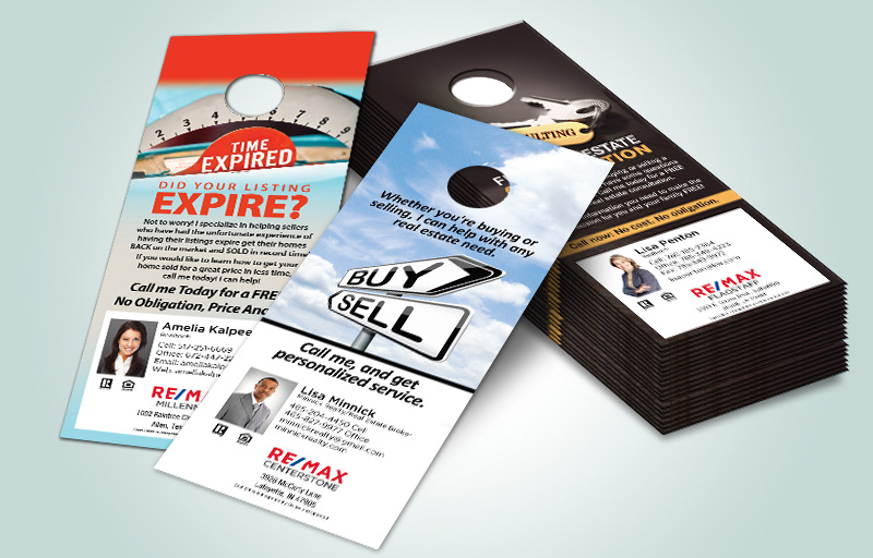 RE/MAX Real Estate One Sided Door Hangers - RE/MAX Door Knockers for Realtors | BestPrintBuy.com