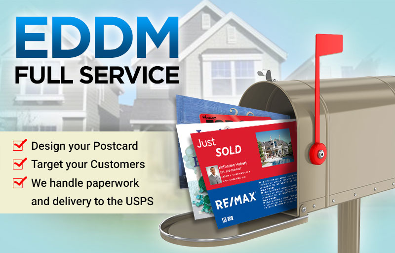 RE/MAX Real Estate Full Service EDDM Postcards - RE/MAX  personalized Every Door Direct Mail Postcards printed and delivered to USPS | BestPrintBuy.com