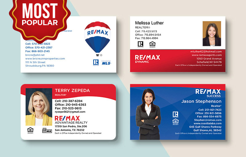 RE/MAX Real Estate Standard Business Cards - RE/MAX Standard & Rounded Corner Business Cards for Realtors | BestPrintBuy.com