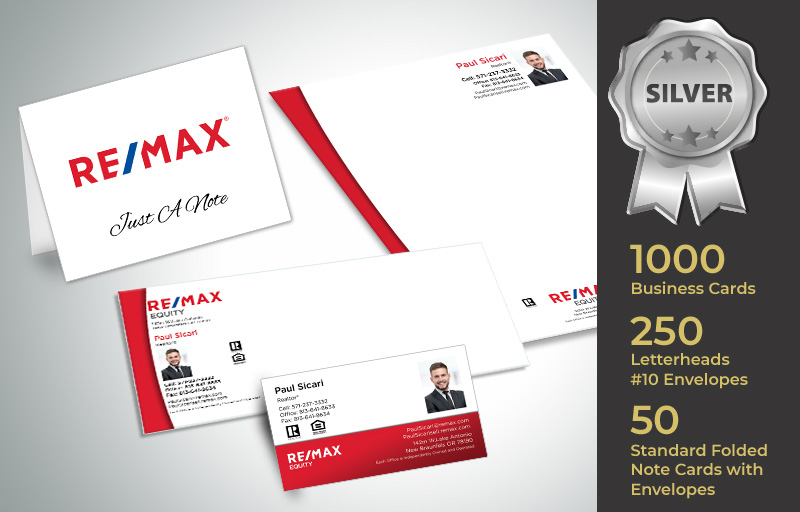 RE/MAX Real Estate Silver Agent Package - RE/MAX  personalized business cards, letterhead, envelopes and note cards | BestPrintBuy.com