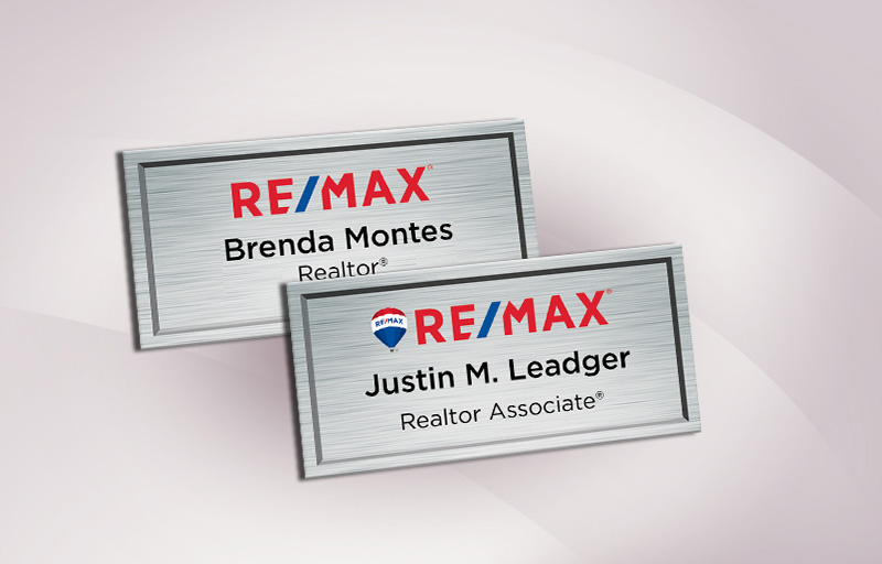 RE/MAX Real Estate Full Color Silver Metallic Name Badge - RE/MAX  Name Tags for Realtors | BestPrintBuy.com