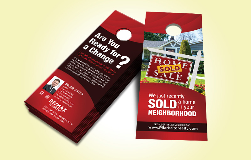 RE/MAX Real Estate Two Sided Door Hangers - RE/MAX Door Knockers for Realtors | BestPrintBuy.com