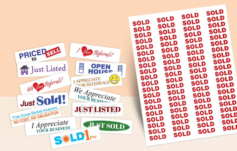 Real Living Real Estate Rectangle Stickers - Real Living Real Estate stickers with messages | BestPrintBuy.com