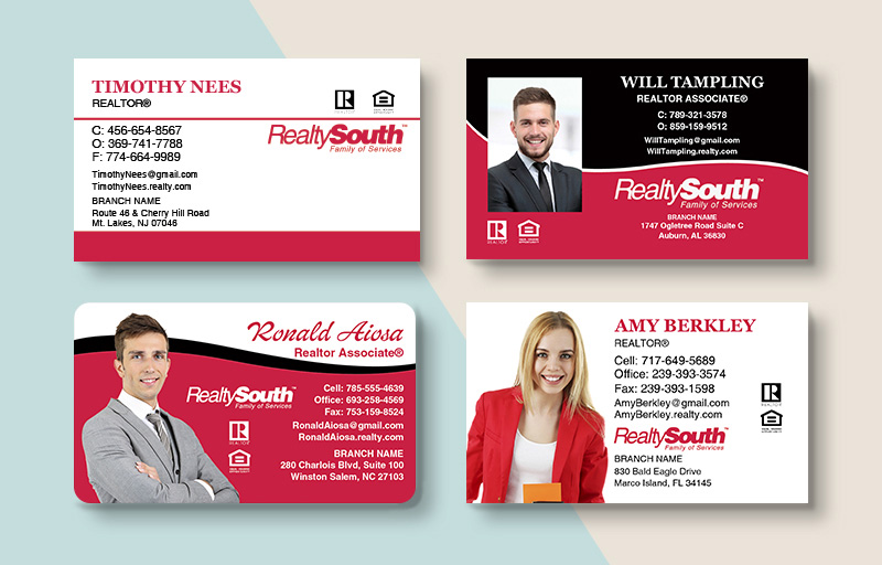Realty South Real Estate Standard Business Cards - Realty South Standard & Rounded Corner Business Cards for Realtors | BestPrintBuy.com