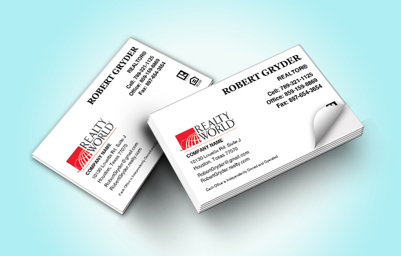 Realty World Real Estate Business Card Labels Without Photo - Realty World marketing materials | BestPrintBuy.com
