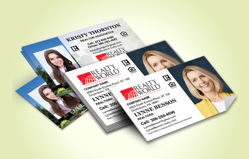 Realty World Real Estate Business Card Labels With Photo - Realty World marketing materials | BestPrintBuy.com