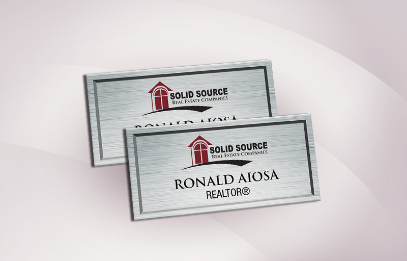 Solid Source Real Estate Full Color Silver Metallic Name Badge - Solid Source  Name Tags for Realtors | BestPrintBuy.com