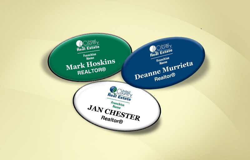 United Country Real Estate Domed Oval Name Badge - United Country Real Estate Name Tags for Realtors | BestPrintBuy.com