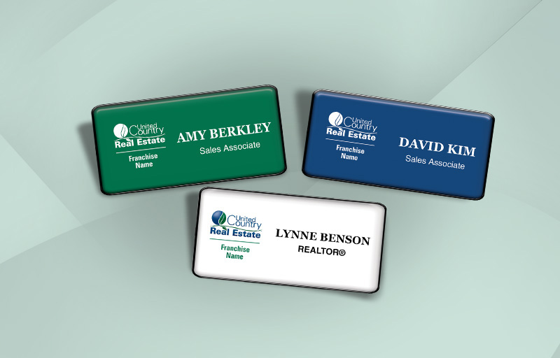 United Country Real Estate Domed Rectangle Name Badge - United Country Real Estate Name Tags for Realtors | BestPrintBuy.com