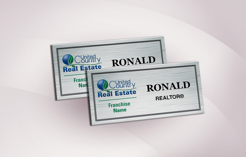 United Country Real Estate Full Color Silver Metallic Name Badge - United Country Real Estate  Name Tags for Realtors | BestPrintBuy.com