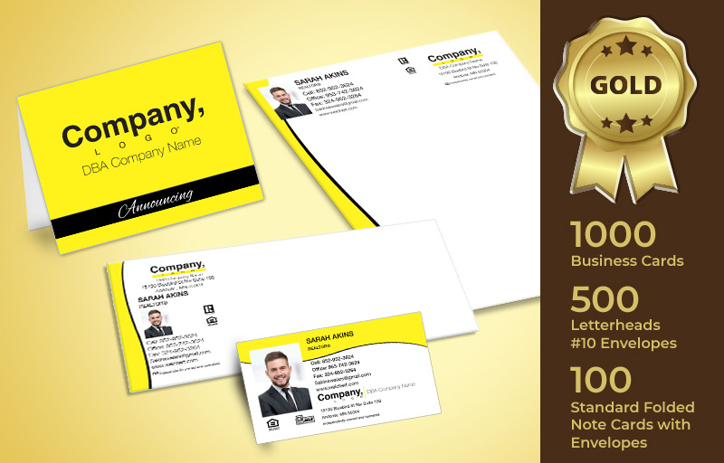 Weichert Real Estate Gold Agent Package - Weichert personalized business cards, letterhead, envelopes and note cards | BestPrintBuy.com