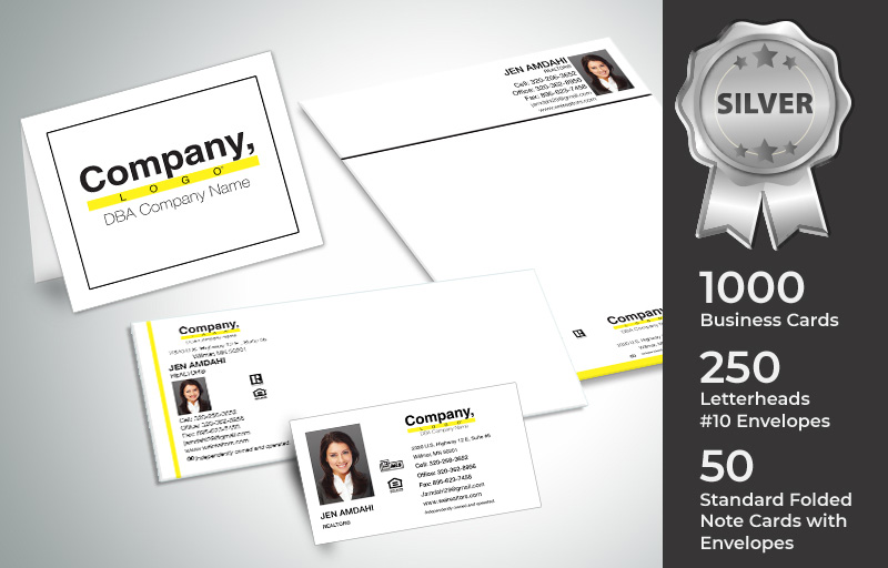 Weichert Real Estate Silver Agent Package - Weichert  personalized business cards, letterhead, envelopes and note cards | BestPrintBuy.com