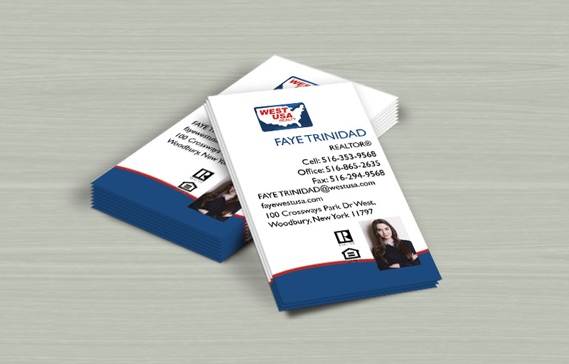 West USA Realty Real Estate Vertical Business Cards - West USA Realty marketing materials | BestPrintBuy.com