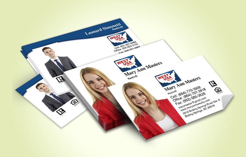 West USA Realty Real Estate Business Card Labels With Photo - West USA Realty marketing materials | BestPrintBuy.com